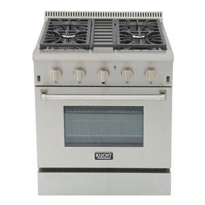 Cuisinière professionnelle au gaz naturel KUCHT de 30 po avec four à convection, boutons argent classique, 4 brûleurs