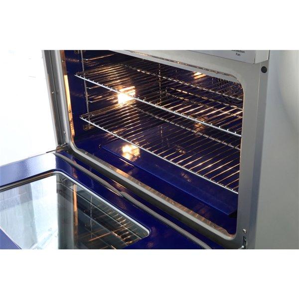 Cuisinière à gaz professionnelle KUCHT de 36 po avec plaque chauffante, boutons bleu royal, 5 brûleurs