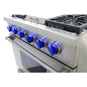 KUCHT Professional 36-in 5.2 cu ft. Natural Gas Range with Griddle with Royal Blue Knobs - 5 burners