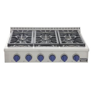 KUCHT 36-in Propane Gas Range-Top with Sealed Burners with Royal Blue Knobs