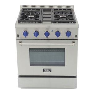 Cuisinière professionnelle au gaz propane KUCHT de 30 po avec four à convection, boutons bleu royal, 4 brûleurs