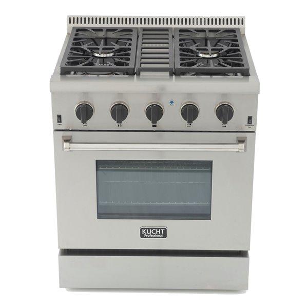 Cuisinière bi-combustible à 4 bruleurs Professional KUCHT pour gas propane, 30 po, acier inoxydable