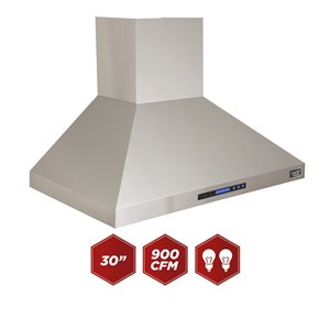 KUCHT 30-in Professional 900 CFM Ducted Wall Mount Range Hood