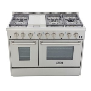 KUCHT 48-in Natural Gas Range with Sealed Burners, Griddle and Convection Oven wit Classic Silver Knobs