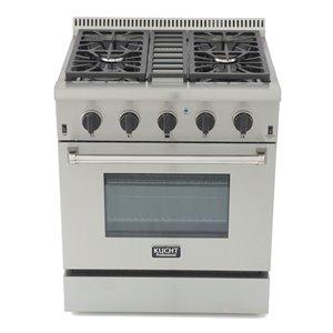Cuisinière professionnelle au gaz propane KUCHT de 30 po avec four à convection, boutons noir smoking, 4 brûleurs