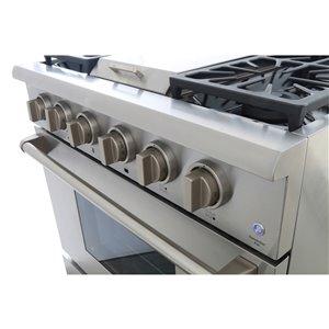 Cuisinière à gaz professionnelle KUCHT de 36 po avec plaque chauffante, boutons argent classique, 5 brûleurs
