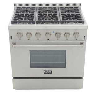 KUCHT Professional 36-in 5.2 cu. ft. Propane Gas Range with Convection Oven with Classic Silver Knobs - 6 burners