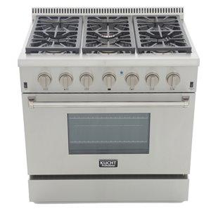 Cuisinière professionnelle au gaz propane KUCHT de 36 po avec four à convection, boutons argent classique, 6 brûleurs
