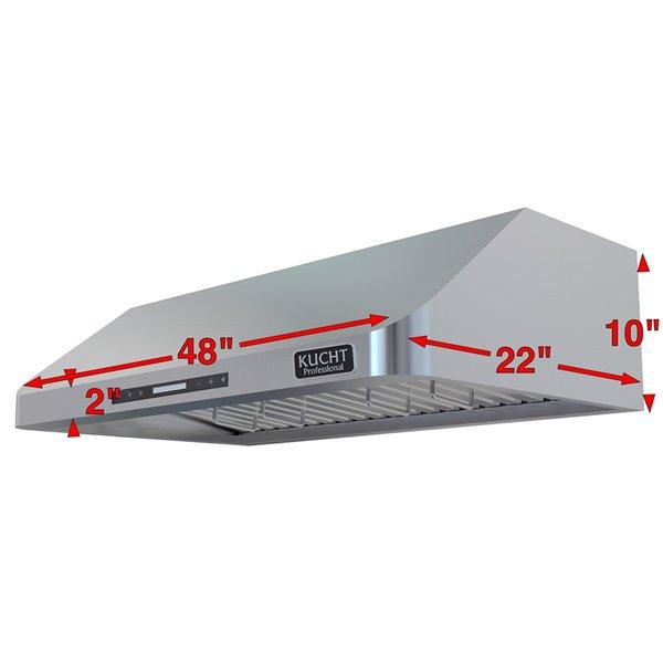 Hotte de cuisine sous cabinet KUCHT de 48 po 900 CFM en acier inoxydable