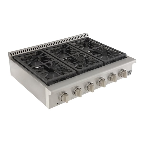 KUCHT 36-in Natural Gas Range-Top with Sealed Burners with Classic Silver Knobs