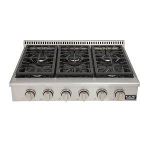 Cuisinière avec brûleurs scellés KUCHT, gaz naturel, 36 po, boutons argentés classiques