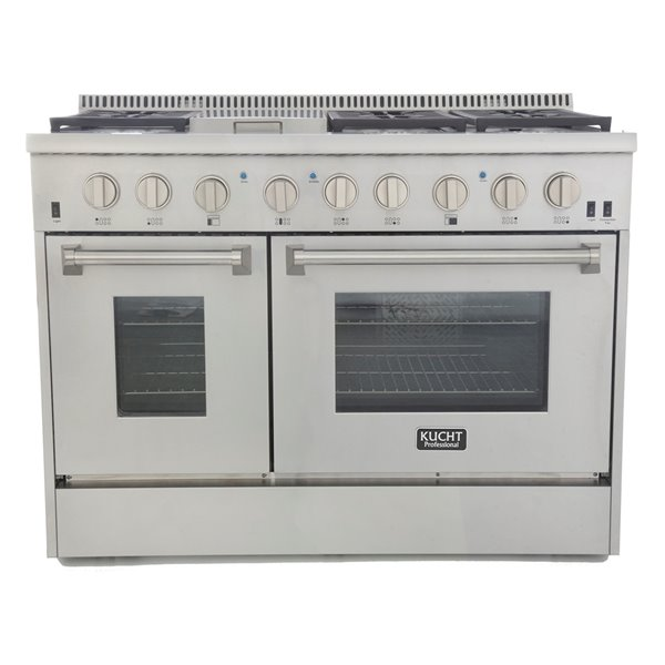KUCHT 48-in 6.7 cu. ft. Dual Fuel Range for Propane Gas w/ Classic Silver Knobs