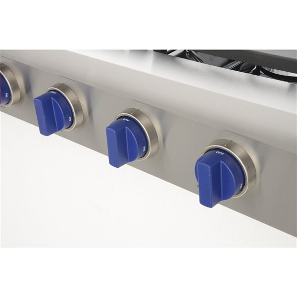 KUCHT 48-in Propane Gas Range-Top with Griddle and Royal Blue Knobs