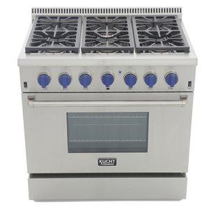 Cuisinière professionnelle au gaz propane KUCHT de 36 po avec four à convection, boutons bleu royal, 6 brûleurs