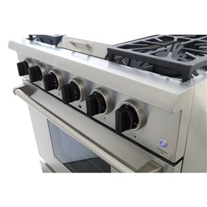 KUCHT Professional 36-in  5.2 cu ft. Propane Gas Range with Griddle with Tuxedo Black Knobs - 5 burners