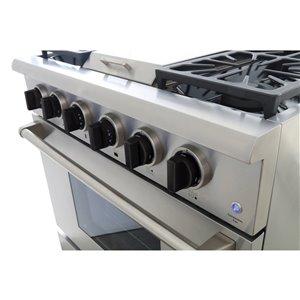 Cuisinière à gaz professionnelle KUCHT de 36 po avec plaque chauffante, boutons noir smoking, 5 brûleurs