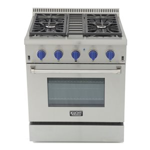 KUCHT Professional 30-in 4.2 cu. ft. Natural Gas Range with Convection Oven with Royal Blue Knobs - 4 burners