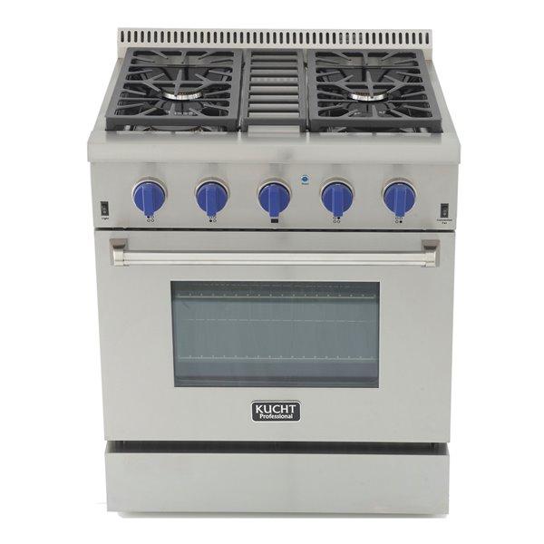 Cuisinière professionnelle au gaz naturel KUCHT de 30 po avec four à convection, boutons bleu royal, 4 brûleurs