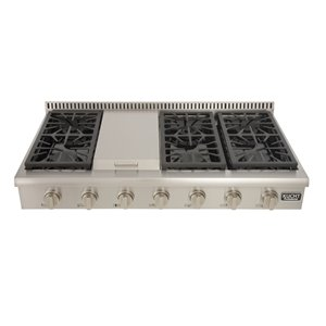 KUCHT 48-in Natural Gas Range-Top with Griddle and Classic Silver Knobs