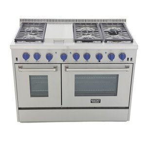 KUCHT 48-in Natural Gas Range with Sealed Burners, Griddle and Convection Oven with Blue Knobs