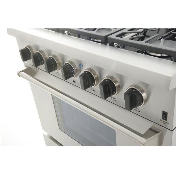 Cuisinière bi-combustible à 6 bruleurs Professional KUCHT pour gas propane, 36 po, acier inoxydable