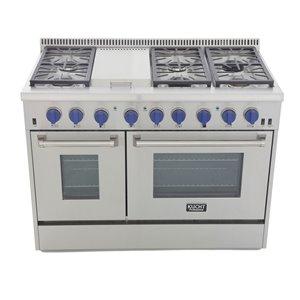 Cuisinière au gaz naturel KUCHT avec plaque chauffante et four à convection à boutons bleus, 48 po