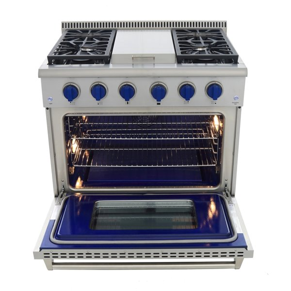 KUCHT Professional 36-in 5.2 cu ft. Propane Gas Range with Griddle with Royal Blue Knobs - 5 burners