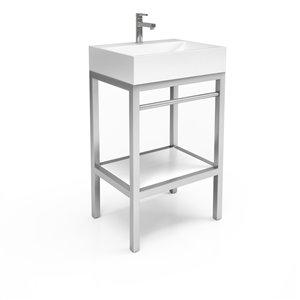 Unik Stone Stainless Steel Vanity with Engineered Stone Sink - 24-in