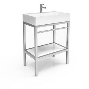 Unik Stone Stainless Steel Vanity with Engineered Stone Sink - 30-in