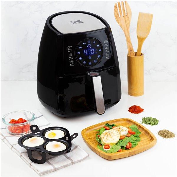 Kalorik 3.2 Qt. Digital Air Fryer with Egg Poacher - Black
