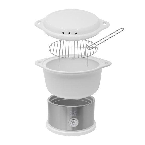 Kalorik 4.8 Qt Ceramic Steamer with Steaming Rack - White