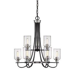 Millennium Lighting Clifton Chandelier - Matte Black/Brushed Nickel