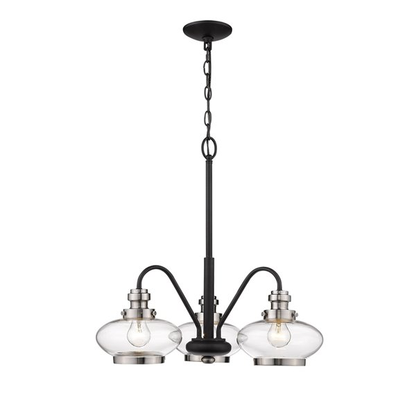 Millennium Lighting Breakfast Nook Chandelier - Matte Black/Satin Nickel