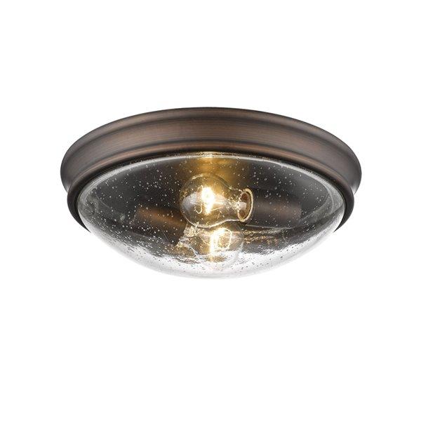 Millennium Lighting Rubbed Bronze Flush Mount - Clear Seeded Glass - 2-Light
