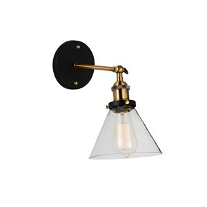 CWI Lighting Eustis 1 Light Wall Sconce - Black & Gold Brass finish