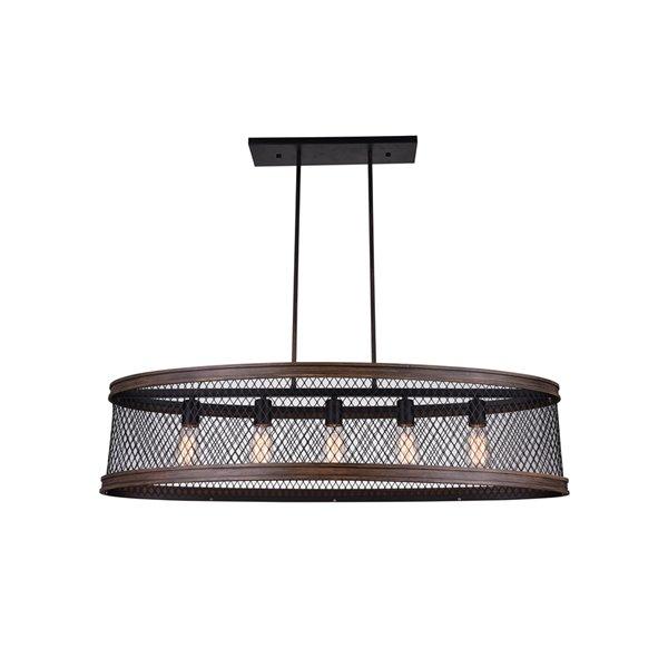 CWI Lighting Torres 5 Light Drum Shade Island Light with Black finish