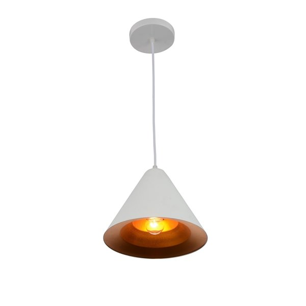 CWI Lighting Keila 1 Light Down Pendant with Matte White & Gold finish