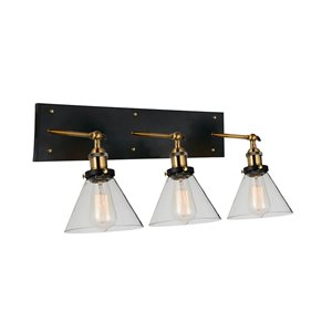 CWI Lighting Eustis 3 Light Wall Sconce - Black & Gold Brass finish