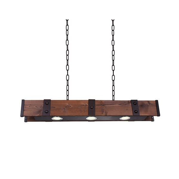 CWI Lighting Pago LED Drum Shade Island Light with Black & Wood finish