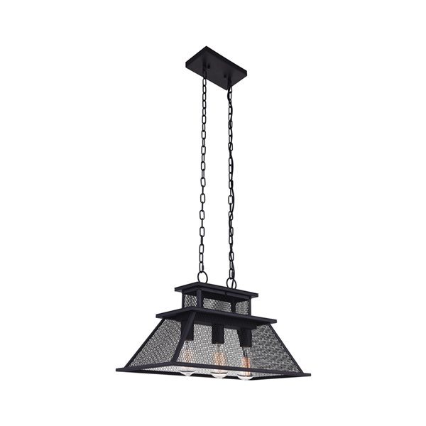 CWI Lighting Savill 3 Light Island Chandelier - Reddish Black finish