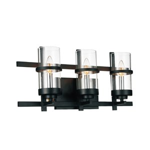 CWI Lighting Sierra 3 Light Wall Sconce - Black finish