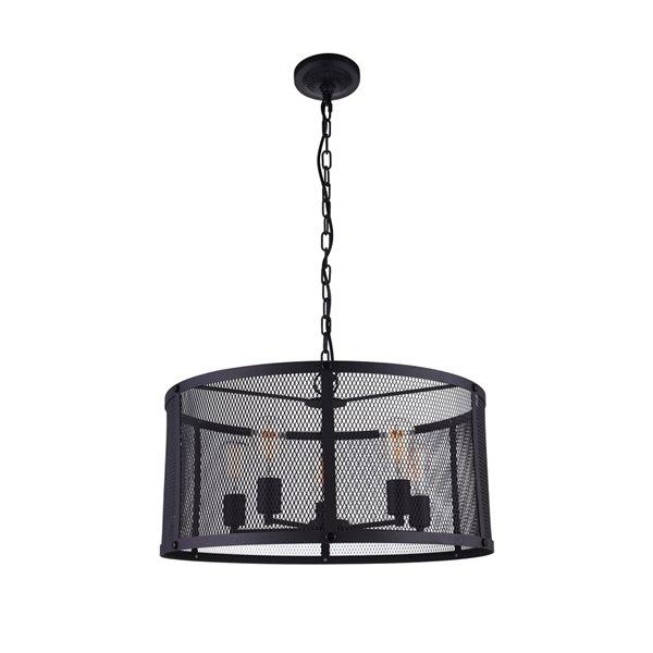CWI Lighting Heale 6 Light Drum Shade Pendant with Reddish Black finish