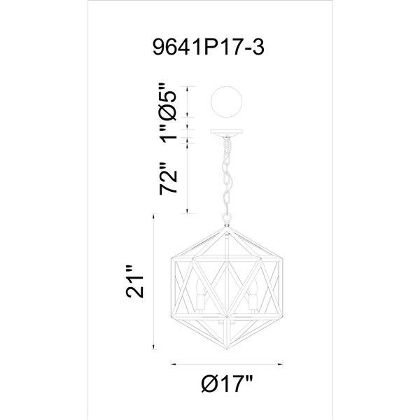 CWI Lighting Amazon 3 Light Up Pendant with Black finish