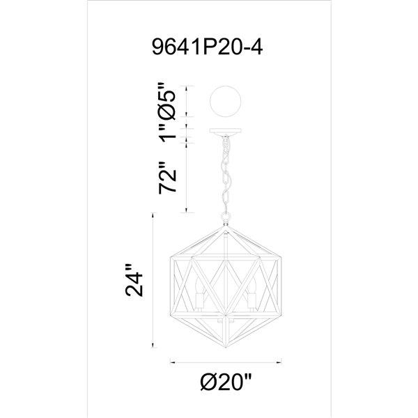 CWI Lighting Amazon 4 Light Up Pendant with Black finish