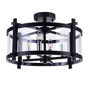 CWI Lighting Miette 4 Light Cage Flush Mount - Black finish