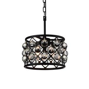 CWI Lighting Renous 3 Light  Chandelier - Black finish