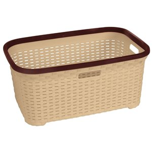 Superio Wicker Laundry Basket - 24-in x 16-in - Off-white