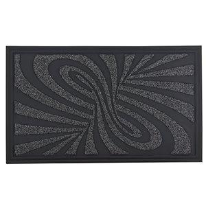 Paillasson rectangulaire de Superio, motif abstrait, 17 po x 29 po, gris