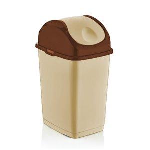 Poubelle à couvercle pivotant de Superio, 35 L, 17 po, beige/brun