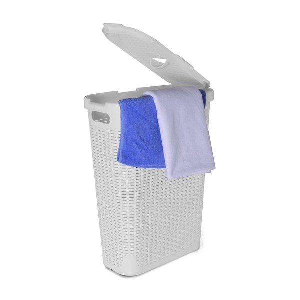 Superio Palm Luxe Laundry Hamper - 24-in x 18-in - White